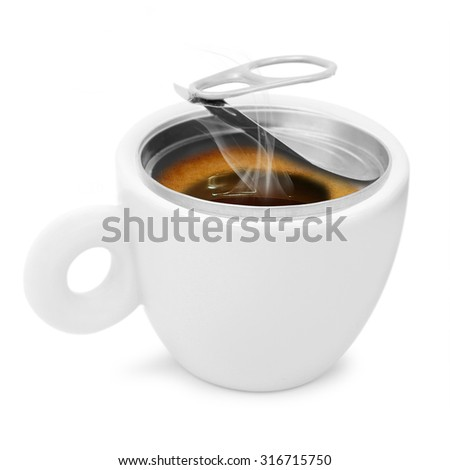 porcelain cup with coffee on a white background - stock photo