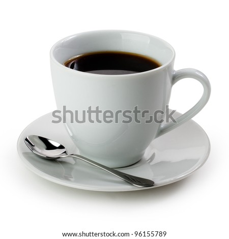 Porcelain cup with coffee on white background