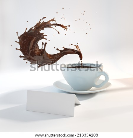 porcelain cup with splashed coffee - stock photo