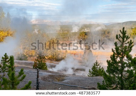 Porcelain Geyser Basin in Yellowstone National Park Wyoming.