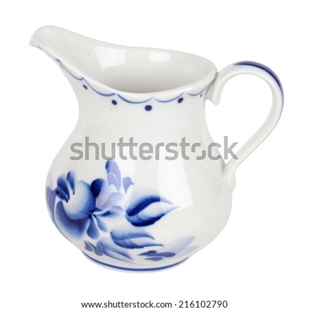 Porcelain milkman painted under Gzhel with the traditional pattern, isolated on white background - stock photo