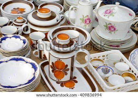 porcelain tableware retro - stock photo