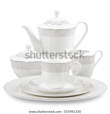 porcelain tea service on a white background - stock photo