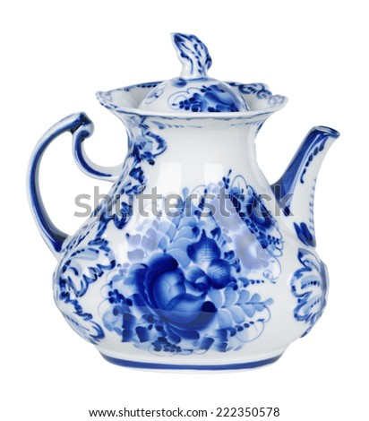 Porcelain teapot painted under Gzhel with the traditional pattern, isolated on white background - stock photo