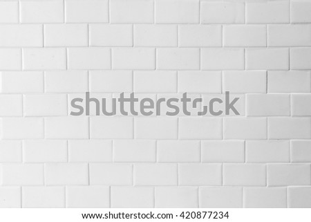 Porcelain tile texture patterned wall background light white gray beige grey color tone Grunge vintage antique old style ceramic polished brickwork tiled textured detailed finishing material backdrop - stock photo