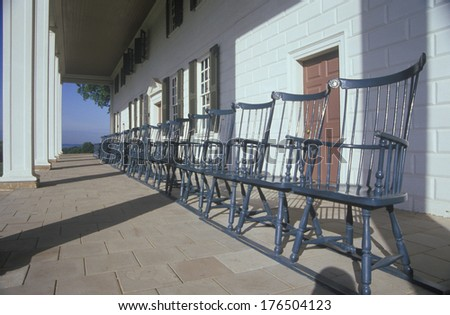 Porch at Mt. Vernon, home of George Washington, Mt. Vernon, Alexandria, Virginia