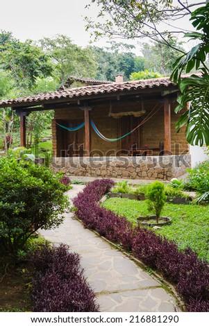 Porch cottage, El Salvador, Central America. - stock photo