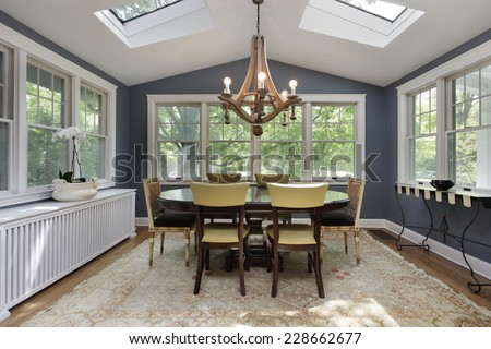 Porch in suburban home with skylights