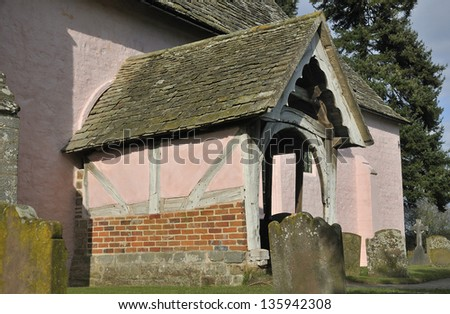 Porch of St Marys Norman Church, Kempley, Newent, Gloucestershire