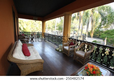 porch with lounge in farm house, brazil - stock photo