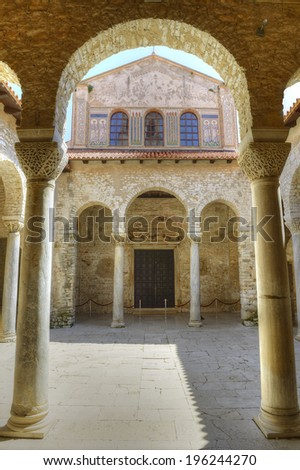 POREC, CROATIA - MAY 6: Atrium of Euphrasian Basilica in Porec on May 6, 2014. Basilica is UNESCO World Heritage Site.