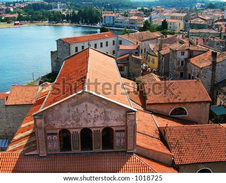 Porec is one of the main tourist centres of Croatia situated on the western shore of Istria. - stock photo