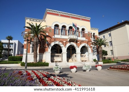 Porec Old Town in Istria, Croatia. Municipal building. - stock photo