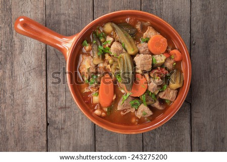 Pork and okra gumbo, cajun style stew - stock photo