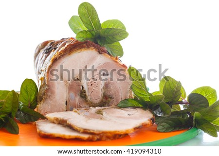 pork baked with spices and mint
