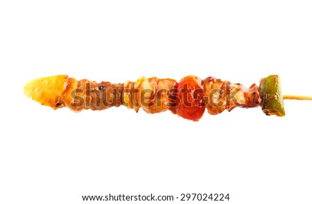 pork barbecue with tomato sauce on white background
