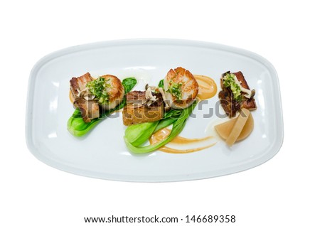 Pork belly and diver scallop with braised daikon, baby bok choy,ginger ...