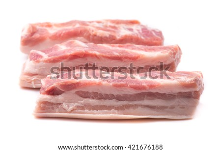 Pork belly on a white background