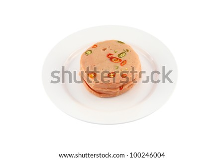 Pork bologna stack with chili dish on white background. - stock photo