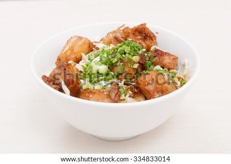 pork bowl - stock photo