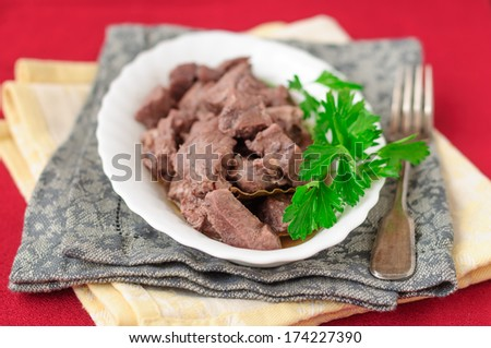 Pork Braised in Red Wine, copy space for your text - stock photo