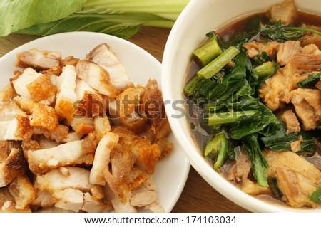 Pork Chinese Five-Spice Stew and Crispy Pork - stock photo