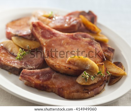 Pork chops with Peaches - stock photo