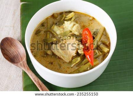 Pork curry with water spinach (Tae-pho soup) - stock photo