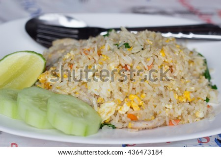 pork fried rice,Vegetables and fried eggs - Thai Cuisine