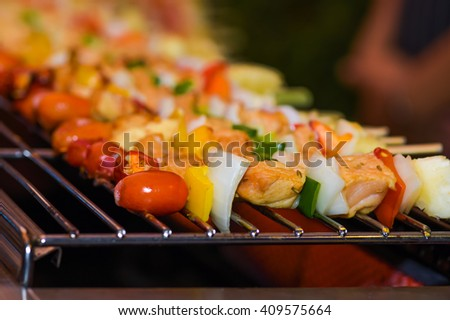 pork grilled with vegetables on  skewers - stock photo
