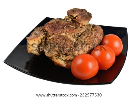 Pork knuckle baked on a plate. Isolated on white background. - stock photo