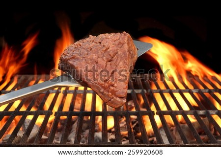 Pork Meat Chop Cooked On The Barbecue Grill. Flame Of Fire In The Background. You can see more grilled food, picnic and party scene in my public set. - stock photo