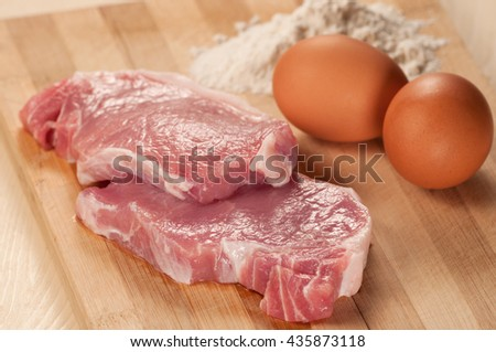 Pork meat for loin with ingredients