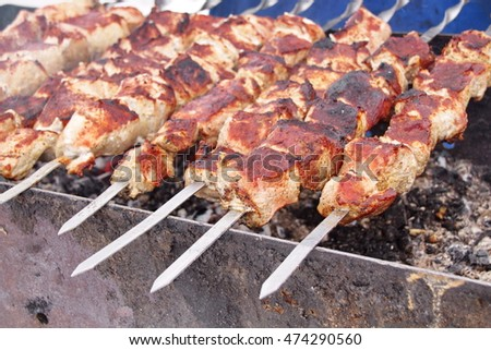 pork meat on skewers kebabs