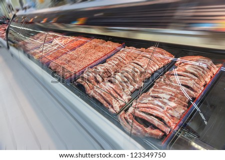 pork meat sold in a super market - stock photo
