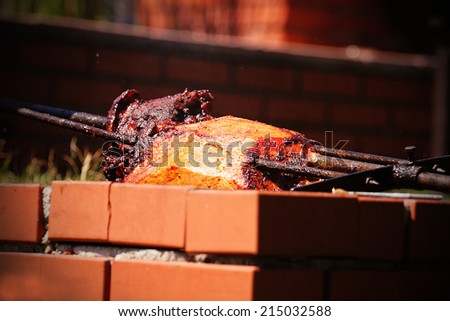 pork meat, steak grilling on fire, barbecue - stock photo