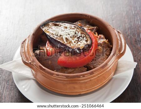 pork meat with eggplant - stock photo