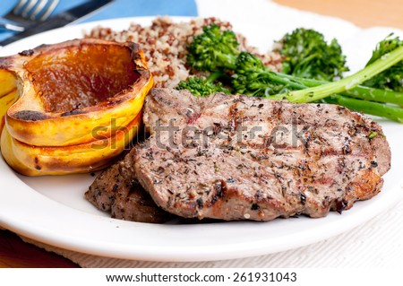 pork neck chops with roasted squash and quinoa
