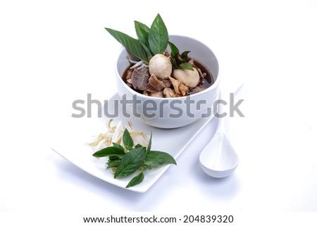 Pork noodle braised taste delicious, thai noodles isolated on white background - stock photo