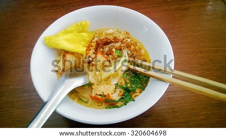Pork noodle tom yum