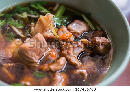 pork rib soup with herbs - top view