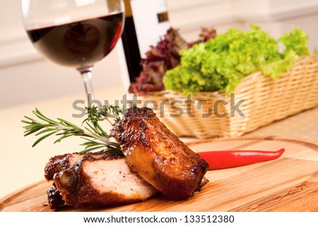 Pork ribs and wine