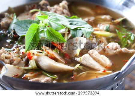 PORK RIBS SPICY SOUP, Thai foods - stock photo