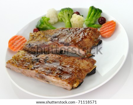 pork ribs with barbecue sauce - stock photo