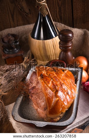 pork roast with crackling - stock photo