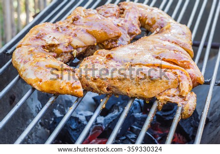 Pork roast with crackling roasting on charcoal grill - stock photo