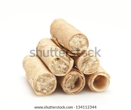 Pork rolls on white background