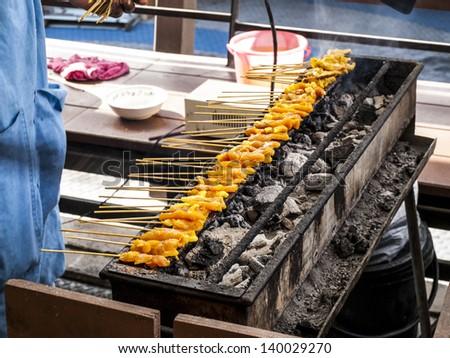 pork satay grill - stock photo