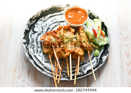 Pork Satay, Traditional Thai steak roasted pork on