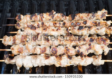 Pork skewers and chicken wings on grill - stock photo